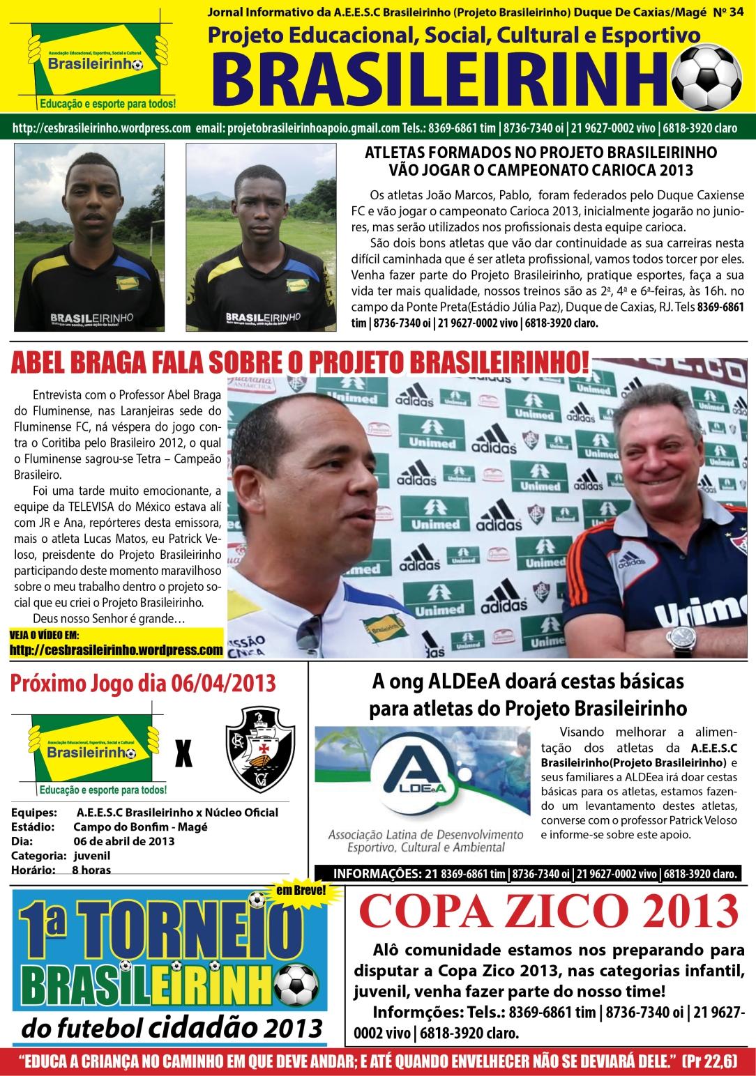 Jornal do Associação E. E.  Social e Cultural Brasileirinho, número 35, 15 de fevereiro de 2013
