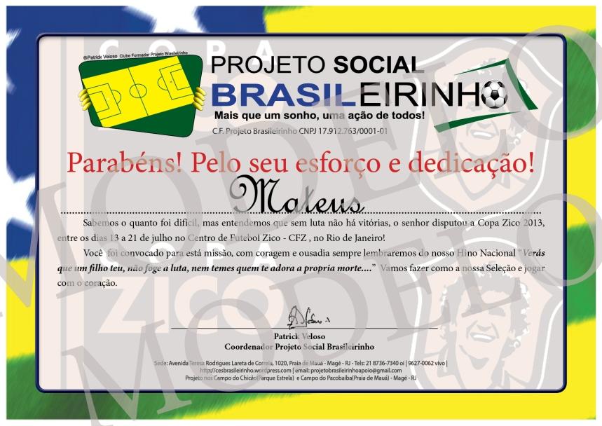 Diploma de Premiação para Copa Zico
