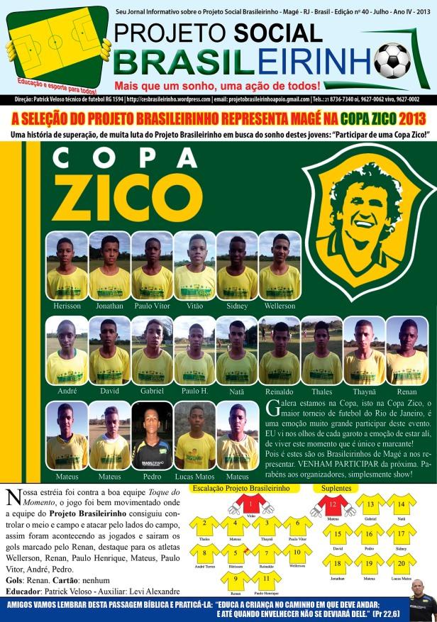 Seu Jornal Informativo sobre o Projeto Social Brasileirinho - Magé - RJ - Brasil - Edição no 40 - Julho - Ano IV - 2013