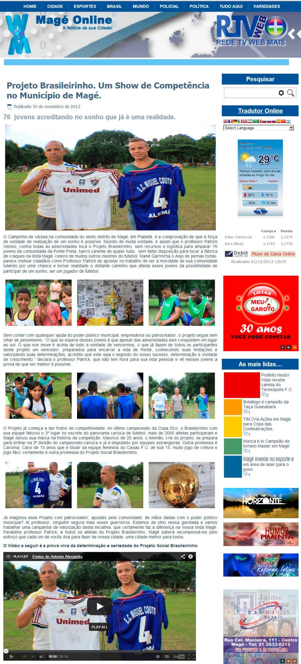 Atualização de status De Antonio Alessandro Projeto Brasileirinho. Um Show de Competência no Município de Magé.  http://mageonline.com/2013/?p=58645