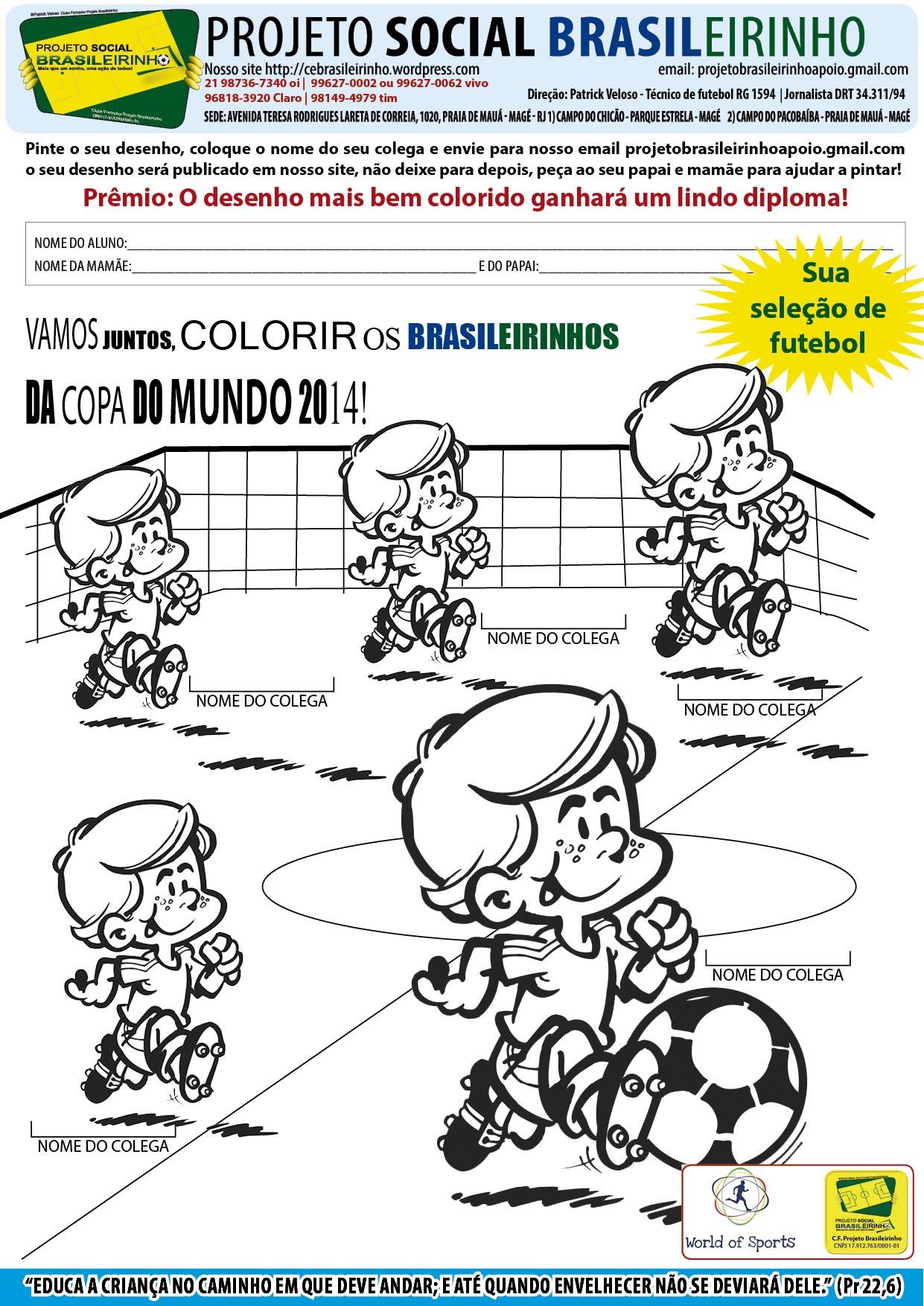 Criançada vamos pintar a nossa seleção Brasileira?