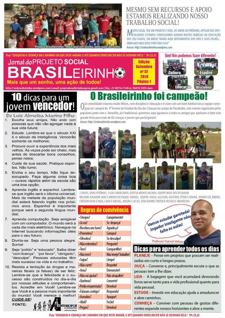 Jornal Informativo Projeto Brasileirinho Edição Setembro  edição 57
