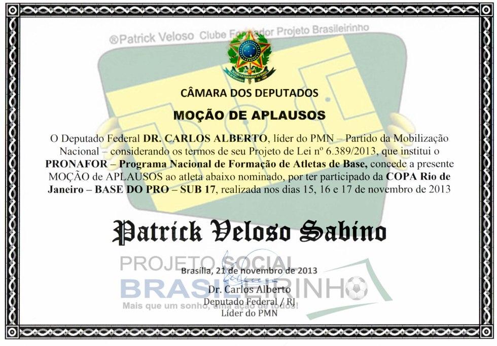 Diploma Moção de Aplauso