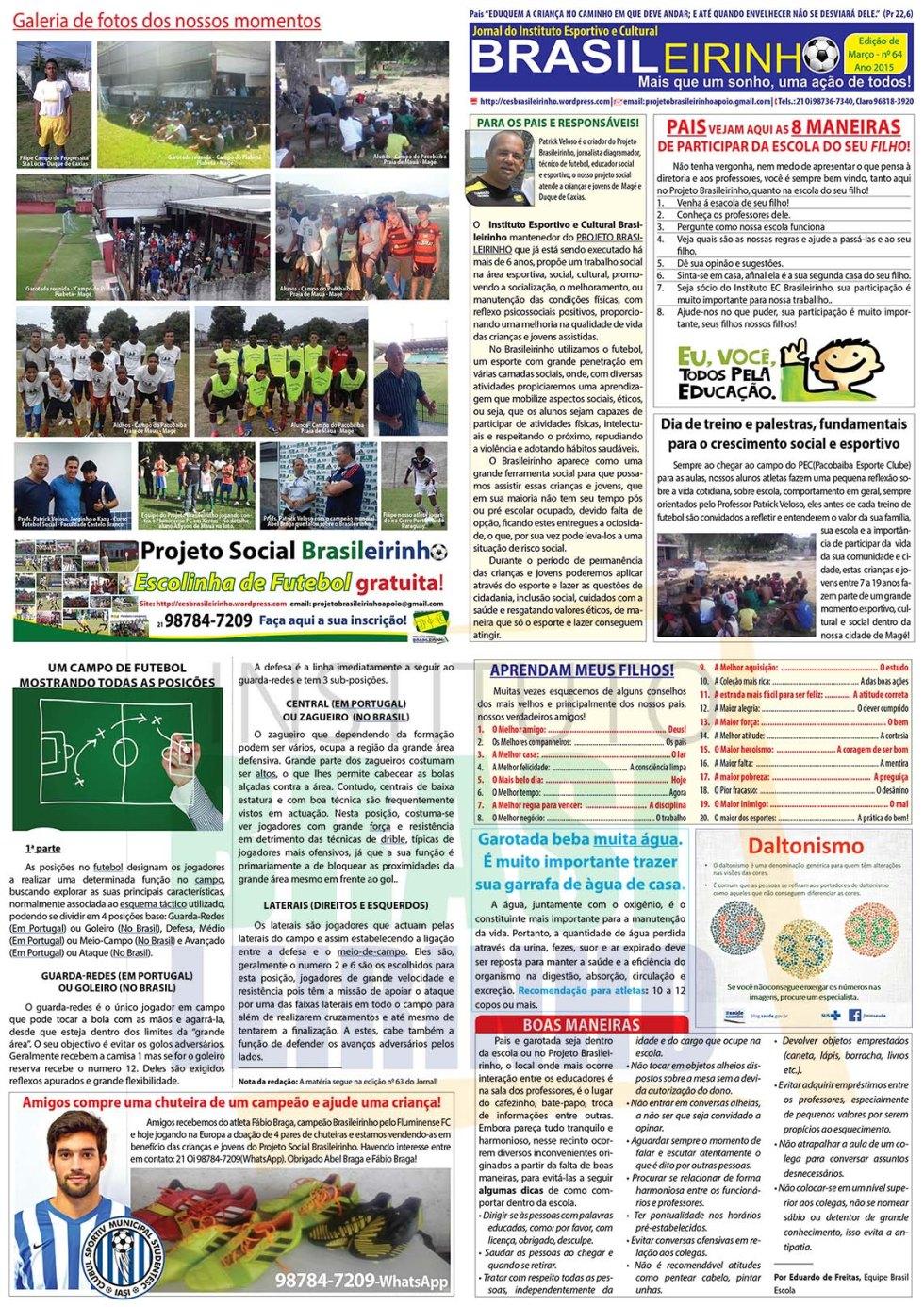 Jornal Informativo Projeto Brasileirinho Edição dezembro  edição 64