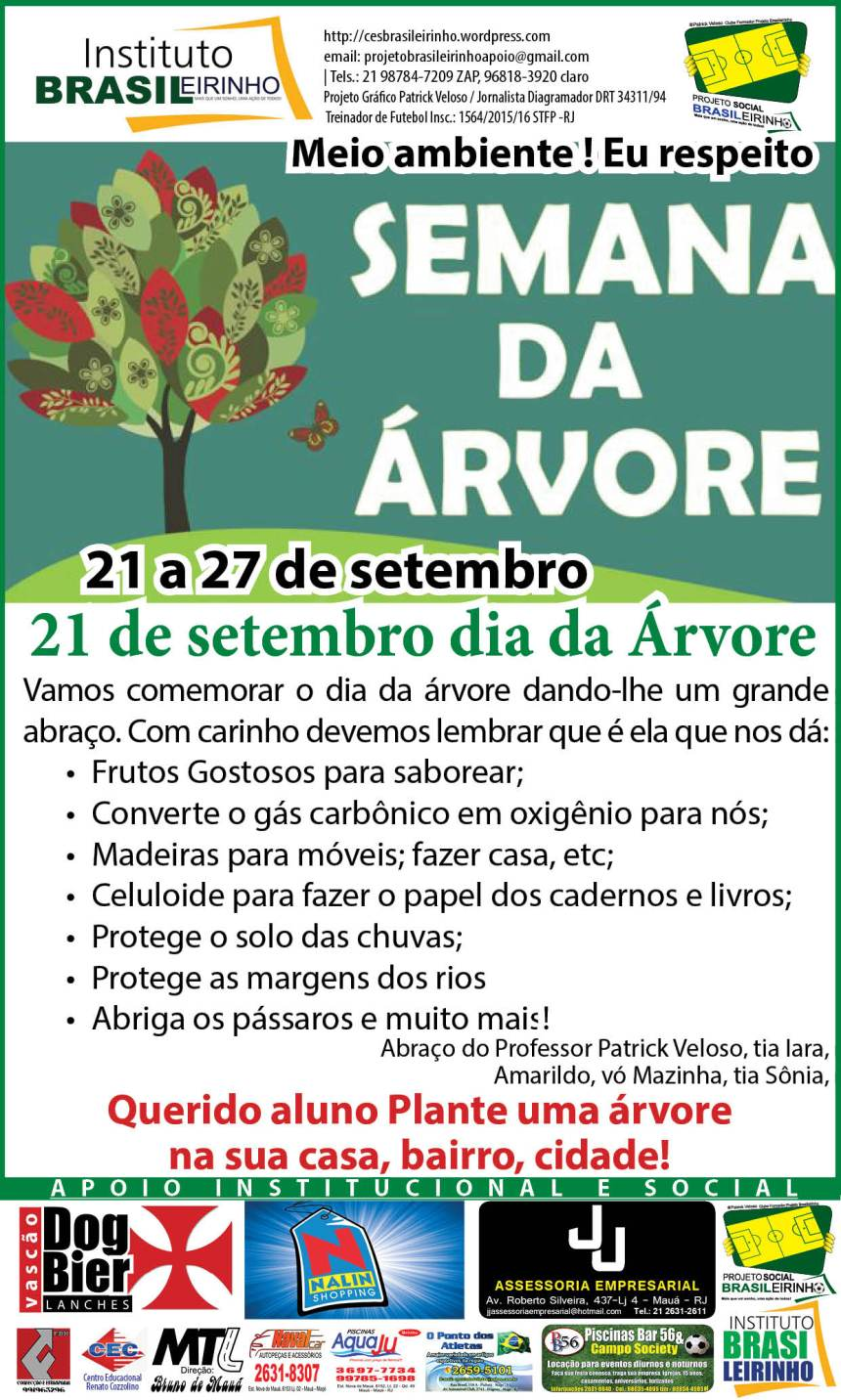 Dia da árvore(Semana da àrvore no Projeto Brasileirinho-2015)