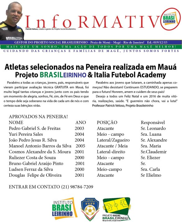 Informativo Atletas selecionados na Peneira realizada em Mauá ed 019  12 2015