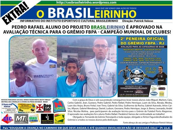 Pedro rafael aluno do Projeto Brasileirinho é aprovado